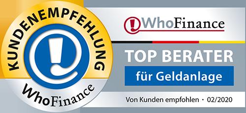 WhoFinance Auszeichnung 2020 Top Berater für Geldanlage